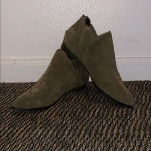 Olive green booties.